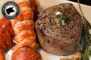 Chicago Steak & Fresh Seafood Gourmet Dinner- Indulge in this Surf & Turf Delight Steak Set –Includes 2 Delicious Wet Aged Filet Mignon Steaks & 2 Cold Water Lobster Tails Delivered Fresh to You