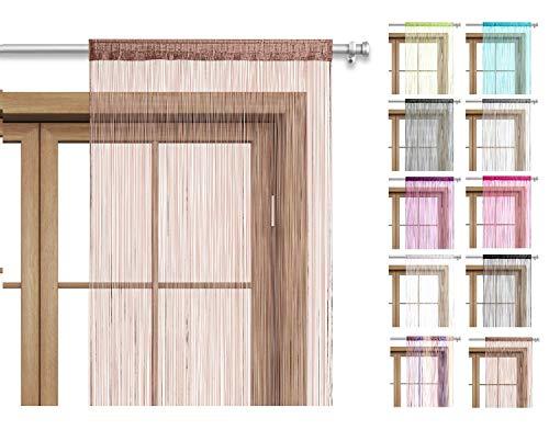 wometo Fadenvorhang Türvorhang Fäden 90x245 cm braun - Stangendurchzug OekoTex kürzbar waschbar Uni einfarbig in vielen bunten Farben