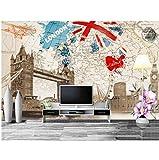 moderno Estilo británico retro londres edificio mapa 3D papel tapiz personalizado mural pasillo sala dormitorio cocina sala de niños sofá TV fondo decoración del hogar-1