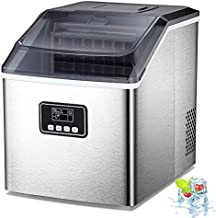 AGLUCKY Counter top Ice Maker Machine,40LBS/24H Compact Ice Machine,Portable Ice Cube Makers with Self-cleaning,Easy-to-Control LCD Display,See-Through Lid for Home/Kitchen/Bar (Silver) (Silver)