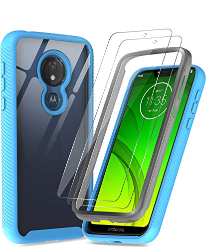 Moto G7 Power Case, Moto G7 Supra Case with Tempered Glass Screen Protector [2 Pack], LeYi Full-Body Rugged Hybrid Bumper Shockproof Clear Protective...