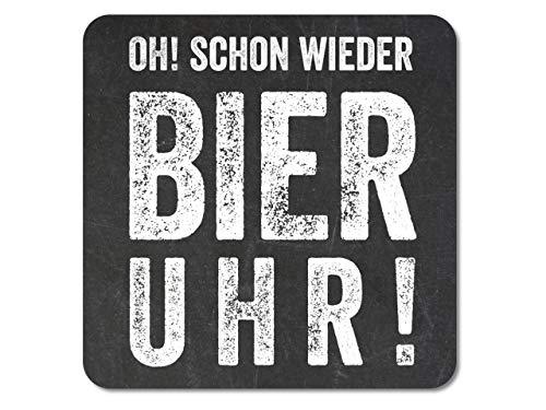 Interluxe leuchtender LED Glasuntersetzer OH Schon Wieder Bier Uhr! Deko für Geburtstag, Party, Feier, Gastgeschenk