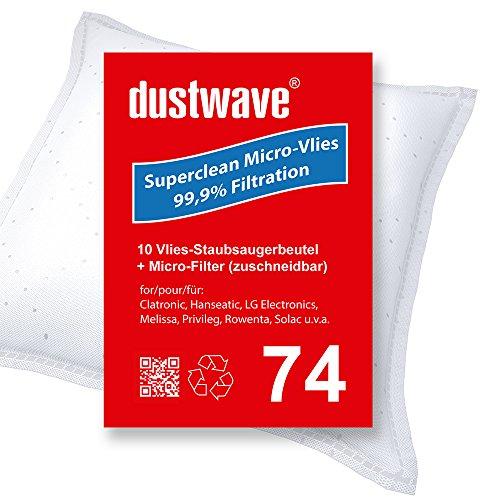 Confezione risparmio – 10 sacchetti per aspirapolvere adatti per LG Electronics – V-CP 243 RDB, RDN, RDR, RDS aspirapolvere di marca dustwave – Made in Germany + microfiltro