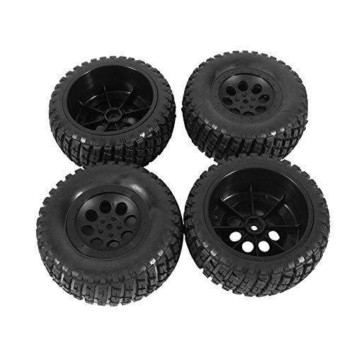 4 Stück Gummireifen Felgen Räder Gummi Bereifung Buggy Reifen für 1:10 HPI Short Course Truck Schwarz 110mm