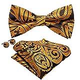 Barry.Wang – Ensemble de nœud papillon, boutons de manchette carré de poche en soie motif cachemire pour homme -  Or - Taille Unique