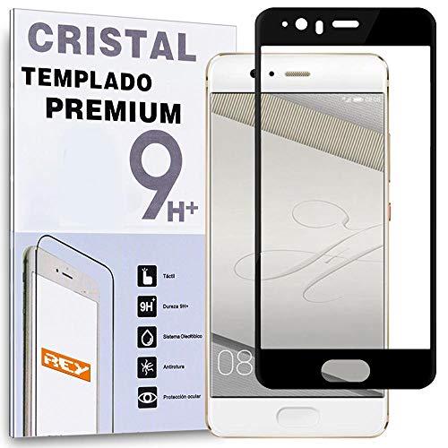 REY Protector de Pantalla Curvo para Huawei P10 Plus, Negro, Cristal Vidrio...