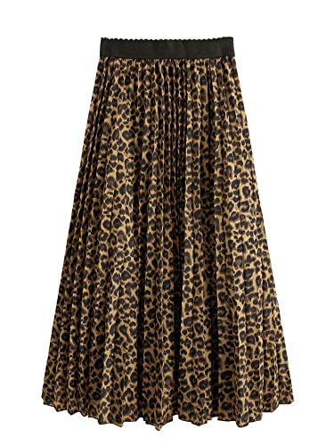 Floerns Women's Boho Elastic Waist Scarf Print Pleated Midi Skirt Multi Cheetah M