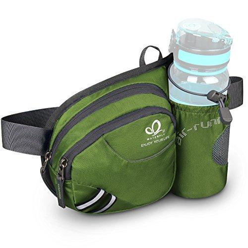 WATERFLY Gürteltasche Bauchtasche mit Flaschenhalter Damen und Herren, Atmungsaktiv Sport Hüfttasche für Laufen Radfahren Camping Klettern Reisen Wandern Joggen Hundetraining