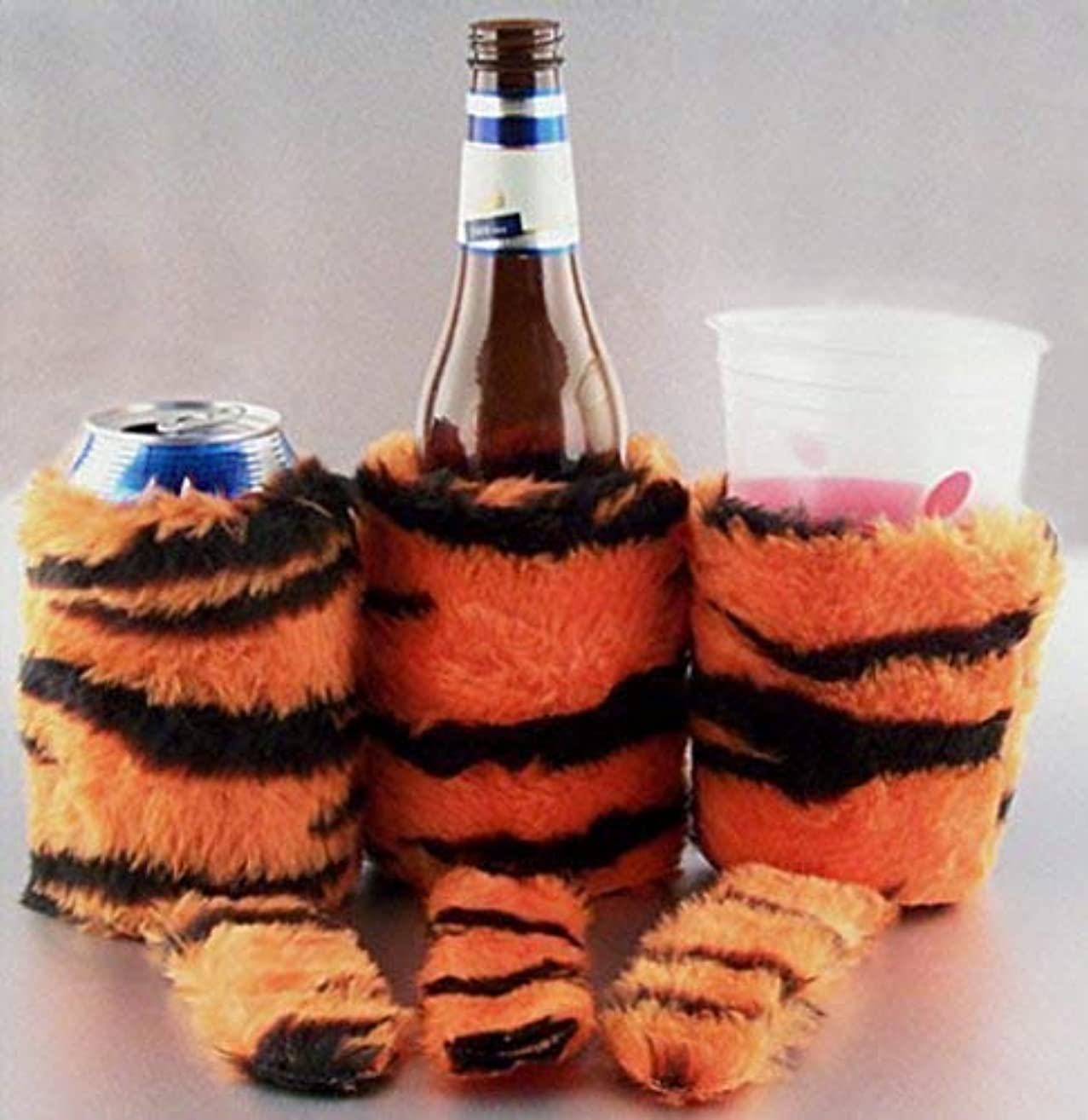 Tiger Faux Fur with Tail Beverage Insulator PocketHuggie Ecofriendly Starbucks, Beer, Solo Cup, Coffee Sleeve Can, Cup, Bottle Clemson