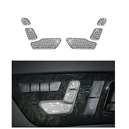 1797 Compatible Seat Adjust Buttons Caps for Mercedes Benz Accessories Parts Bling W212 C117 X156 B E CLA GLA GLE Class AMG Covers Decals Stickers Interior Decorations Women Men Crystal Silver 6 Pack