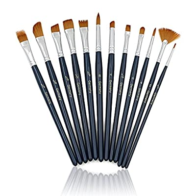 Sumnacon Professional Artist Paint Brush Set with Long Handle - 15 Pcs Nylon Hair Watercolor Acrylic Oil Painting Brushes with Free Pop up Stand Brush Case Holder for Any Masterpiece