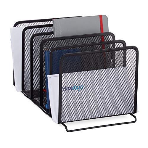 Relaxdays Katalogsammler, freistehender Magazinhalter aus Metall, 5 Fächer, Mesh Design, 18,5 x 20,5 x 37,5 cm, schwarz