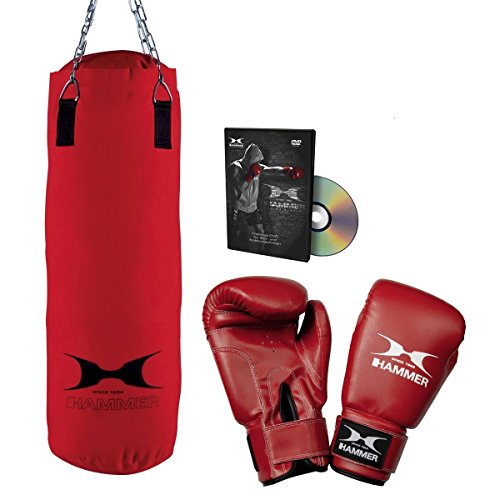 HAMMER Box-Set Fit mit 60 cm langem Boxsack, Boxhandschuhe und Trainings-DVD