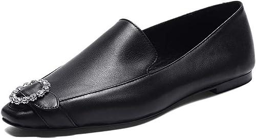 XLY Mocasines para damen Rhinestone Comfort Slip Casual en schuhe de tacón bajo de Piel de Vacuno,schwarz,40