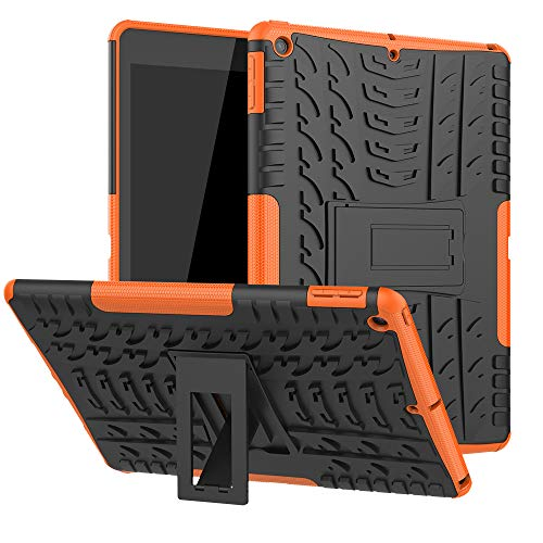 New iPad 7th Generation 10.2' 2019 / iPad 10.2 Case, Ankoe Heavy Duty Hybrid Dual Layer Rugged Rubber Armor Defender Protective Case with Kickstand for iPad 10.2 Inch 2019 (Orange)
