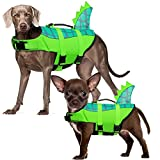 Durable Dog Life Jacket, Adjustable Ripstop Pet Safety Vest, Dog Lifesaver with Rescue Handle for Small Medium or Larger Dog, Eliminate Anxiety/Tension, Enhanced Buoyancy, Swimming, Green Dinosaur XS
