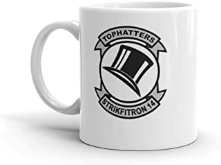 VFA-14 / VF-14 Tophatters Patch. 11 Oz Ceramic Coffee Mug Also Makes A Great Tea Cup With Its Large, Easy to Grip C-handle