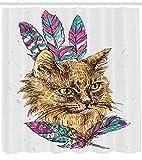 ABAKUHAUS Katze Duschvorhang, Katze mit Bunten Federn, aus Stoff inkl.12 Haken Digitaldruck Farbfest Langhaltig Bakterie Resistent, 175 x 200 cm, Multicolor