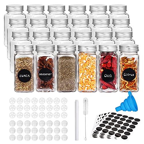 Cibeat Gewürzdosen aus Glas 24 Stück mit Schraubkappe, 120 ml Gewürzgläser Set mit 3 Verschiedenen Streuer-Aufsätze, Eckig Gewürzdosen Set mit Trichter, Bürste, Etiketten, Stift Markieren