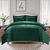 HYBD Emerald Green Velvet Duvet Cover Queen Size Velvet Bedding Sets(Duvet Cover + 2 Pillow Shams)