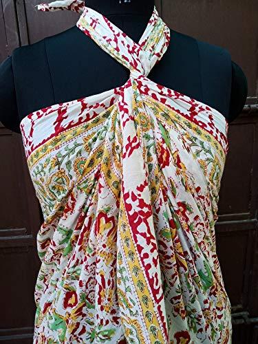 Pareo indio de algodón 100% con estampado de bloques de manos, bufandas de algodón rojo y amarillo, hermosa funda para bikini de playa para mujer, tamaño 44 x 72 pulgadas, algodón indio Sarong 026