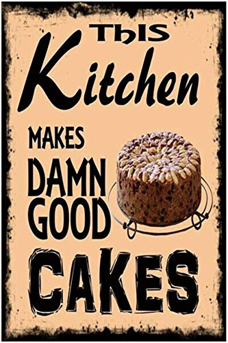 "Good Cakes Vintage Wall Decor w/ Funny Quote, Unique Metal Wall Decor for Home, Bar, Diner, or Pub 12""x8"" in. Metal Tin Signs, Fun Kitchen Decor, Funny Bar Signs, Vintage Kitchen Signs"