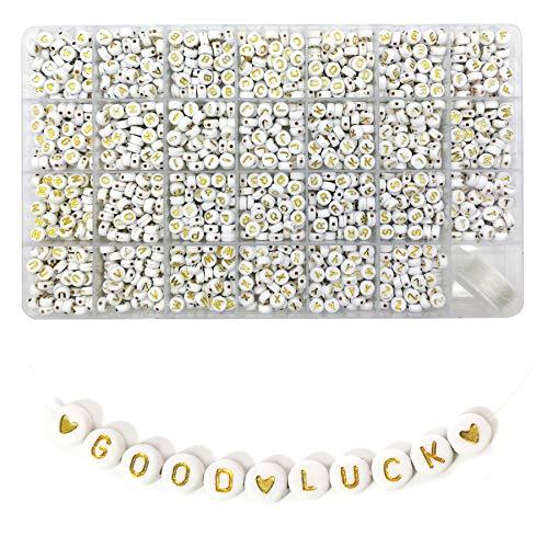 Lnvision 1350 cuentas redondas de acrílico con letras del alfabeto doradas, 7 x 4 mm, espaciadoras para joyas, manualidades de la A a la Z y corazón de amor