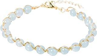 CUSTZ Natural Stone Bracelet Crystal Bracelet Wire Wrapped Bracelet for Women and Girls (js000069)