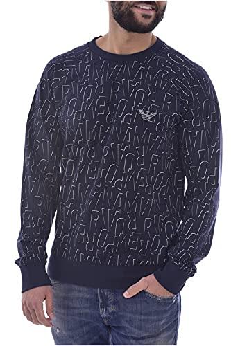 Emporio Armani Underwear Sweater all Over Logo Terry Maglia di Tuta, Stampa Marina, M Uomo