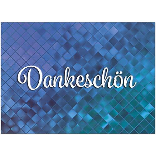 15 schöne Dankeskarten (Abstrakt blau) mit 15 Umschlägen im Set - Danksagungskarten, Danke sagen nach Hochzeit, Geburt, Baby, Taufe, Geburtstag, Kommunion, Konfirmation, Jugendweihe, Weihnachten