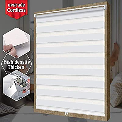 """SEEYE Free-Stop Cordless Zebra Roller Blinds Horizontal Window Shade Dual Layer Sheer Privacy Day and Night Curtains Easy to Install Greyish White, 35 1/2"""" W × 72"""" H"""