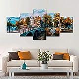 GUANGXING Cuadro sobre Impresión Lienzo Canal De Amsterdam 5 Piezas Cuadro En Lienzo Listo para Colgar Un Marco Arte De Pared Modulares Sala De Estar Dormitorios Decoración para El Hogar