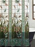 ezon-ch personalizar impermeable de vidriera con diseño de flores Tela de poliéster de impresión de libélulas Home Hotel apartamento baño cortina de ducha, tela, Stained Glass Meadow, 60x72