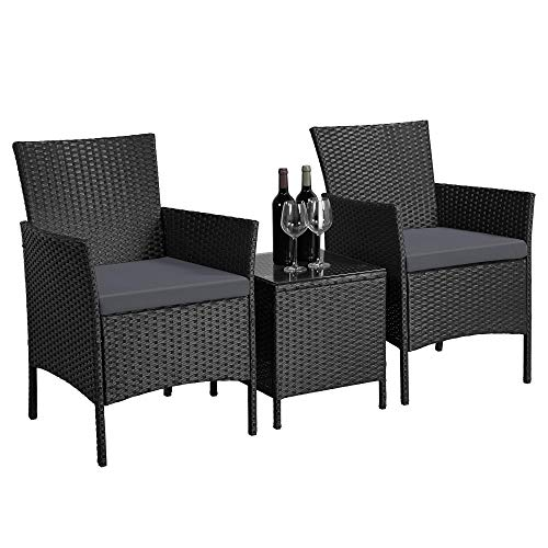 Yaheetech Garden Dining Table Outdoor Patio Rattan Chairs 3 Piece Garden Furniture Set Coffee Table and Chairs with Gray Cushion