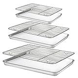 Baking Sheet with Rack Set [3 Sheets+3 Racks], HUSHIDA Stainless Steel Cookie Sheets Baking Pan with Cooling Rack(16