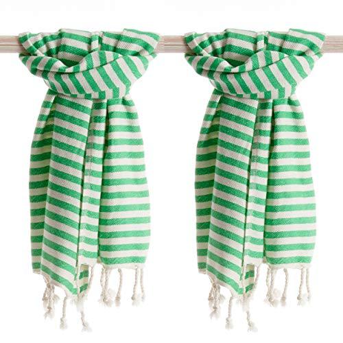ANATURES Serviette de Hammam (Set 2 Pieces) Holiday 45x90 cm | Premium - Oeko-TEX® - Fair Trade - Coton Bio - Fouta De Plage - Serviettes de Bain - Drap Plage - Pestemal - Fouta L (Vert)