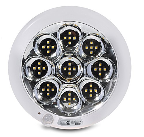 Led4U LED Plafon plafondlamp plafondlamp 45 LEDs lichten lamp licht met bewegingsmelder geluid sensor geluid PIR sensor 9W warm wit koud wit (warm wit)