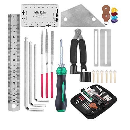 Kit de reparación de guitarra, kit de herramientas de mantenimiento de guitarra Macllar, regla de guitarra, enrollador de cuerdas, accesorios para guitarra, regalos, guitarra/bajo/mandolina/banjo