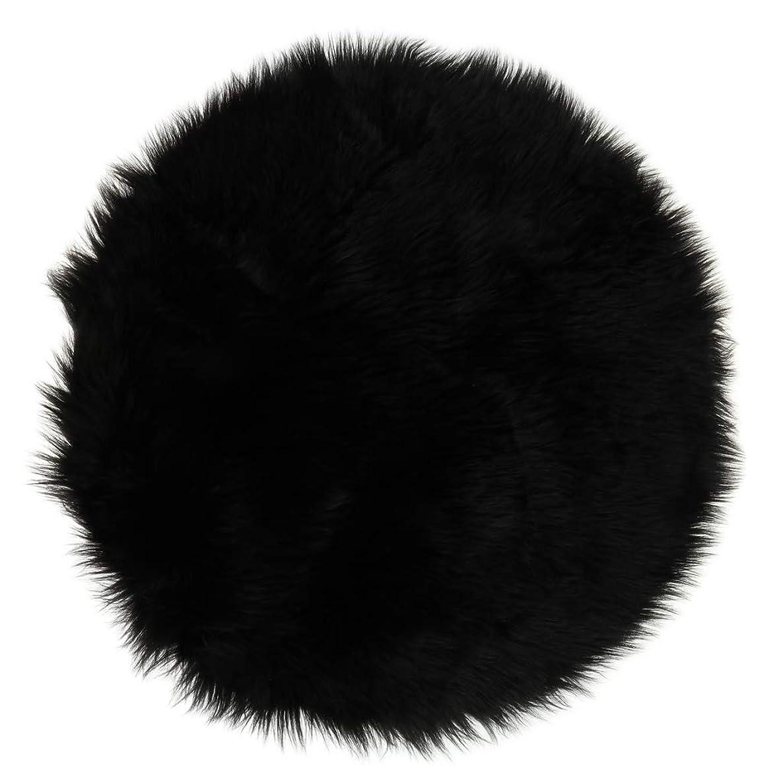 問題肉腫水族館P Prettyia 円形マット ラグ ムートンラグ 人工 部屋 リビング ファーマット ふわふわ 超快適 - ブラック