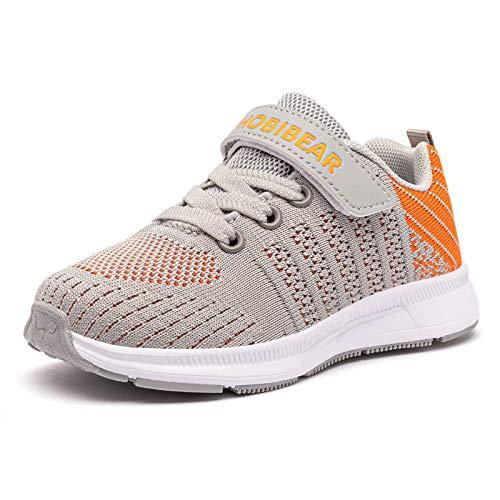 GUBARUN Toddler Boys and Girls Lightweight Athletic Sneakers Casual Running Shoes(13,Grey Orange)