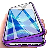 EabHulie Huawei Honor 8X Case, 360° Full Body Transparent Tempered Glass with Magnetic Adsorption Metal Bumper Case Cover for Huawei Honor 8X Purple