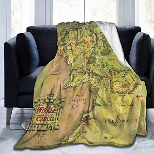 Lor-d of the Rings Middle Earth Map Blanket Super Soft Throw Blanket Warm...