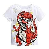 Camiseta Estampada Dinosaurio para bebé niños, Camiseta Manga Corto Bebes niños niñas Camisa de Animal Tops Blanco 5-6 años