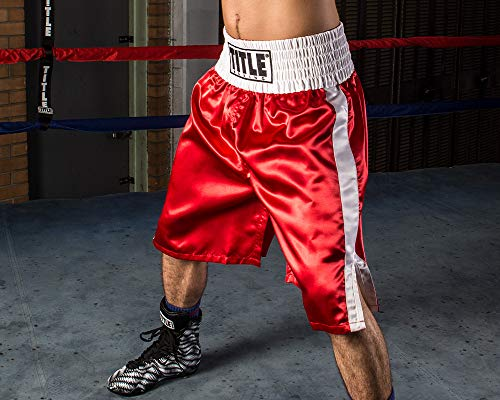 Title Edge Boxing Trunks, Red/White, Large