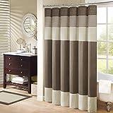 Madison Park Amherst Bathroom Shower Curtain Faux Silk Pieced Striped Modern Microfiber Bath Décor, 72x72 Inches, Natural