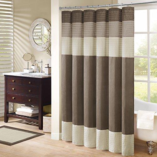 Madison Park Amherst Bathroom Shower Faux Silk Pieced Striped Modern Microfiber Bath Curtains, 54x78 Inches, Natural