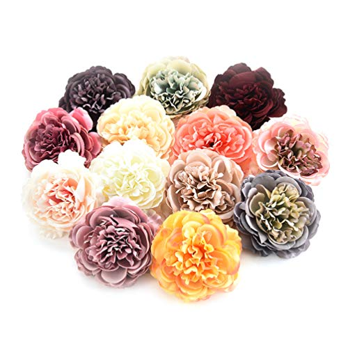 Fake flower heads in bulk wholesale for Crafts Artificial DIY Silk Peony Heads Decorative Simulation Flower Head Decor for Home Wedding Birthday Party Decoration Fake Flowers 8PCS 7.5cm (Colorful)