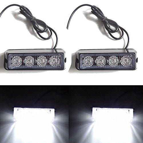 Viktion 2pcs * 8W 4 LEDs Feux de Pénétration Lumière Stroboscopique Eclairage Clignotant à 17 Modes pour Voiture Camion véhicule SUV DC 12-24V (Blanc)