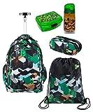 ST.Right Green Blocks - Juego de mochila con ruedas para la escuela + estuche + bolsa de deporte + caja de desayuno para niños, hombre y mujer
