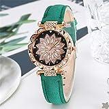 Clarashop - Reloj de pulsera para mujer, diseño de flores, con cinturón mate y movimiento electrónico